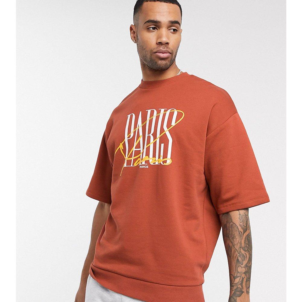 Tall - Sweat-shirt oversize manches courtes à imprimé ville - ASOS DESIGN - Modalova