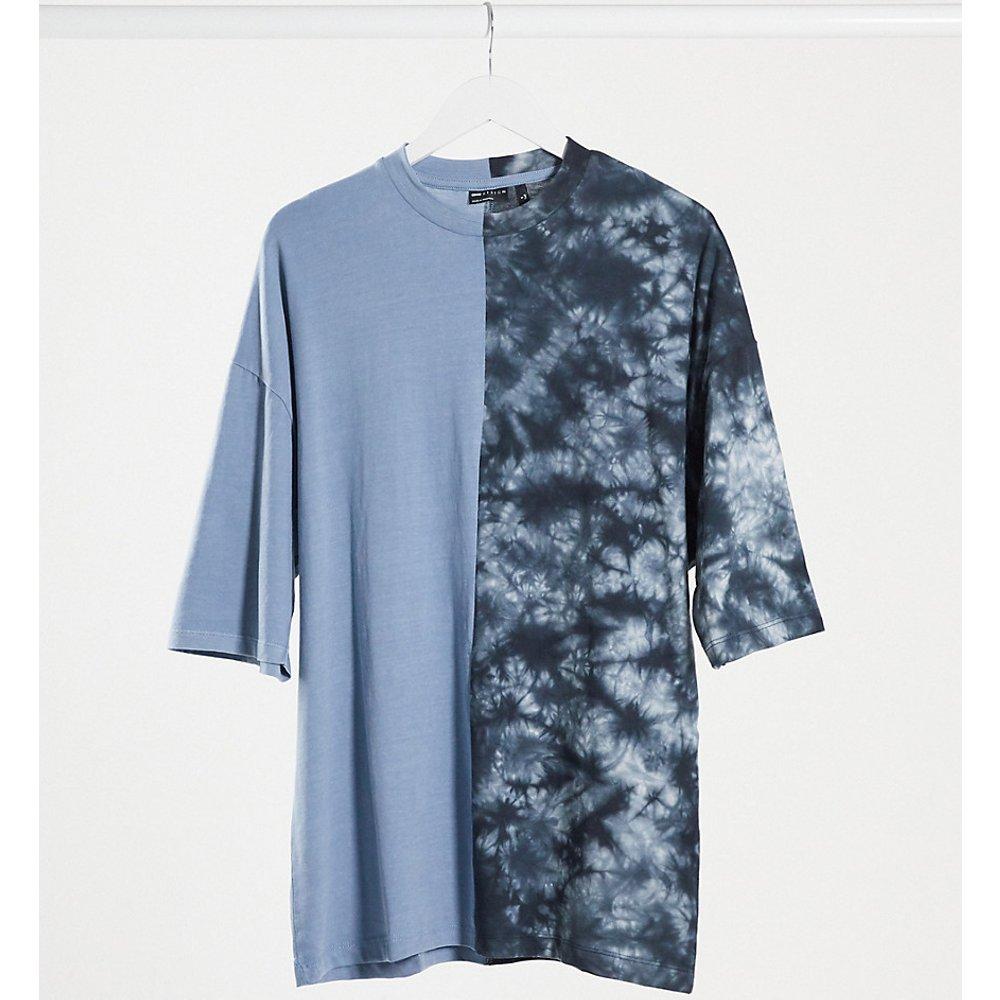 Tall - T-shirt long oversize contrasté en tissu biologique avec manches mi-longues - Tie-dye ton sur ton - ASOS DESIGN - Modalova