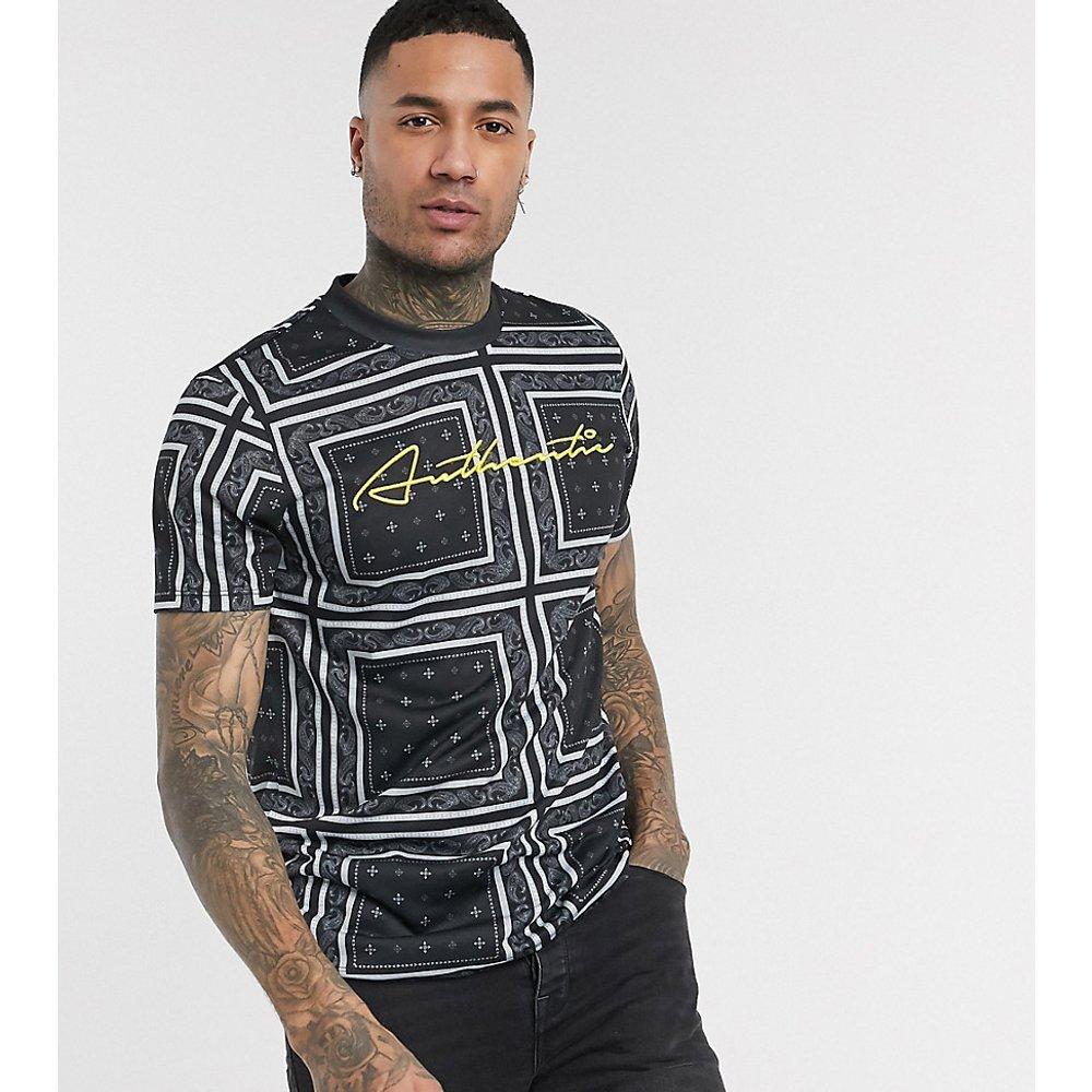 Tall - T-shirt motif cachemire avec inscription Authentic contrastante - ASOS DESIGN - Modalova