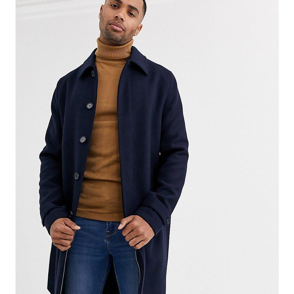 Tall - Trench-coat droit boutonné - Bleu marine - ASOS DESIGN - Modalova