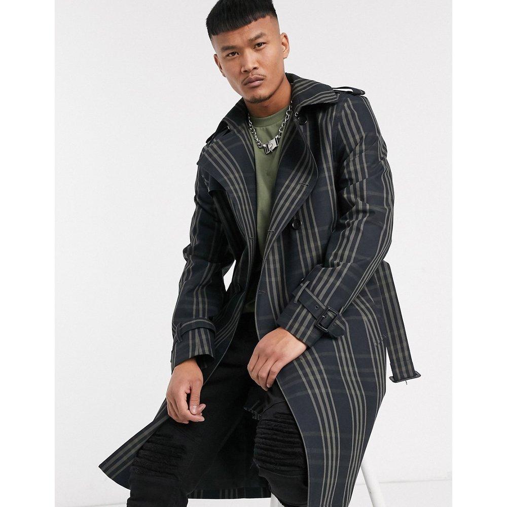 Trench-coat croisé à carreaux - Bleu marine - ASOS DESIGN - Modalova