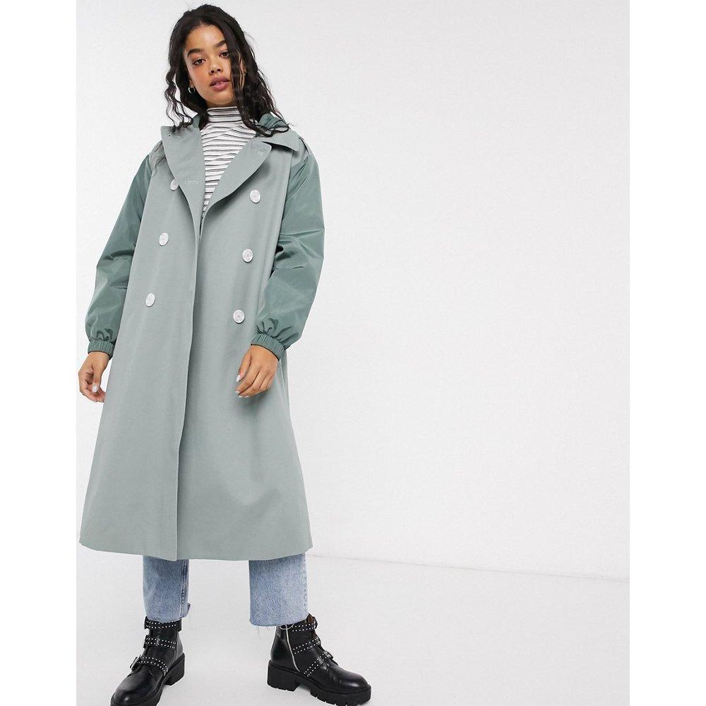 Trench-coat hybride à surpiqûres contrastantes - Sauge - ASOS DESIGN - Modalova
