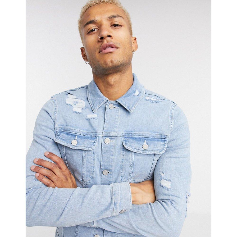 Veste ajustée en jean avec déchirures - délavé - ASOS DESIGN - Modalova