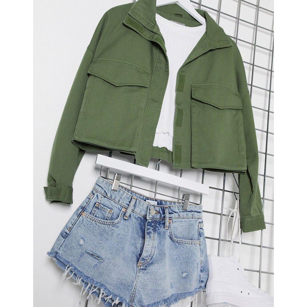 Veste courte oversize style chemise - Kaki - ASOS DESIGN - Modalova