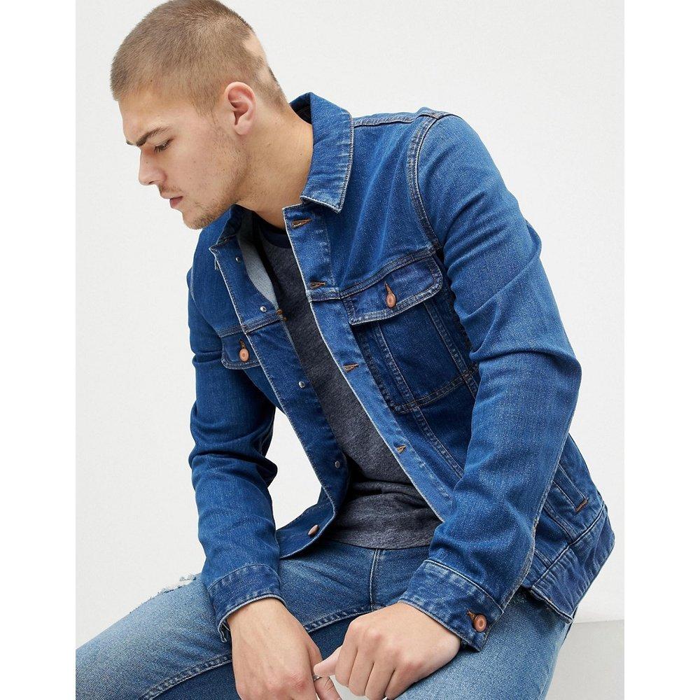 Veste en jean ajustée - Délavage foncé - ASOS DESIGN - Modalova