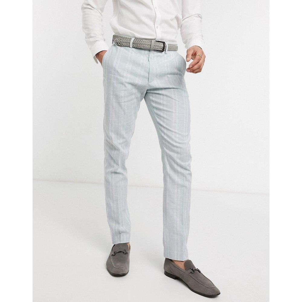 Wedding - Pantalon de costume en lin et coton stretch à rayures - et blanc - ASOS DESIGN - Modalova