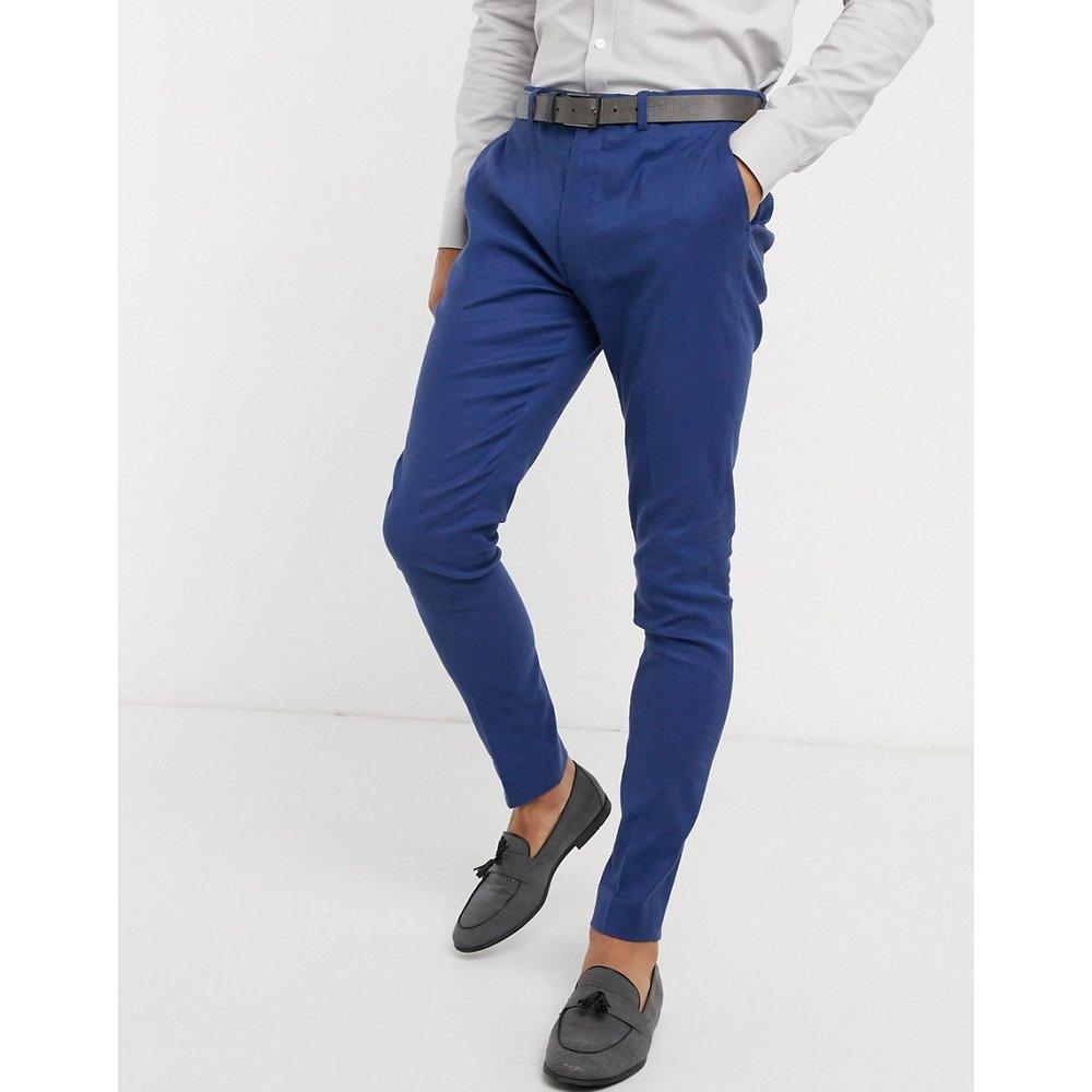 Wedding - Pantalon de costume super skinnyen lin et coton stretch - Bleu marine - ASOS DESIGN - Modalova