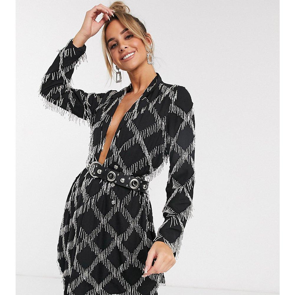 Robe blazer à franges et strass avec ceinture - ASOS EDITION - Modalova