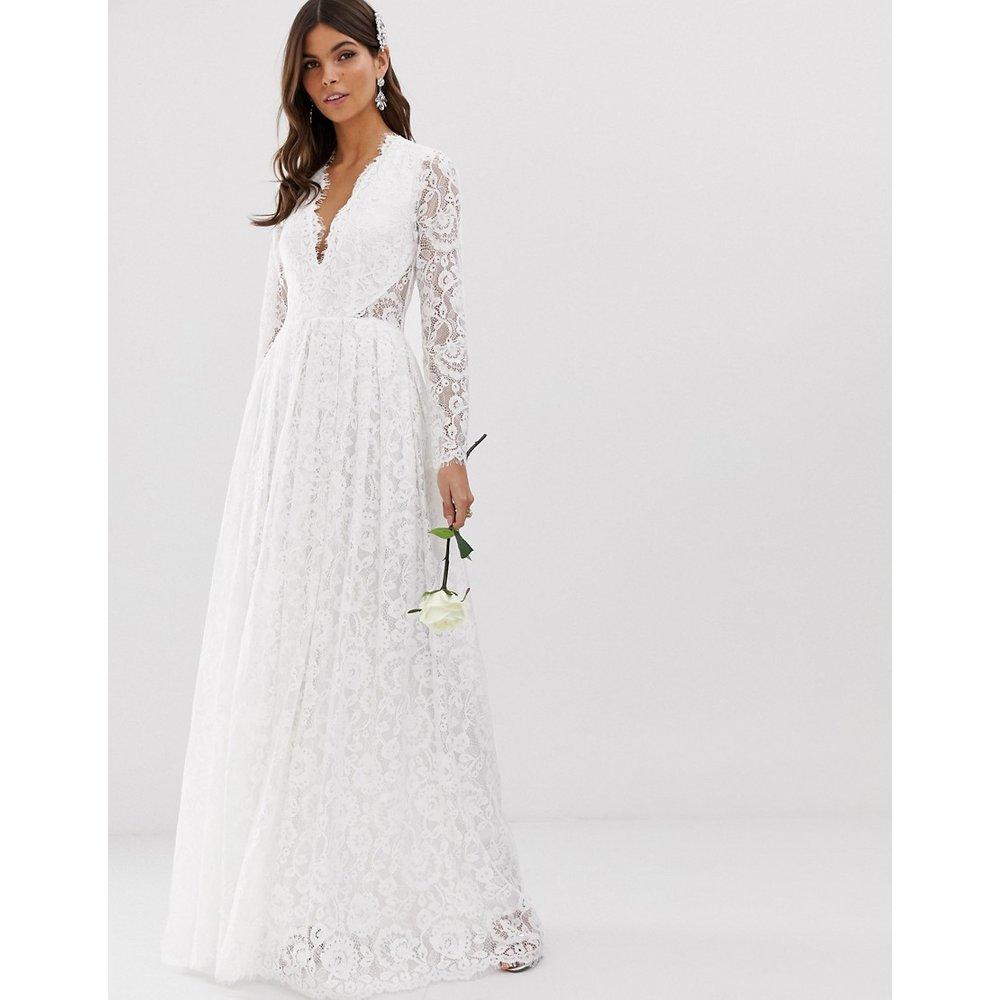 Robe de mariée col V en dentelle - ASOS EDITION - Modalova