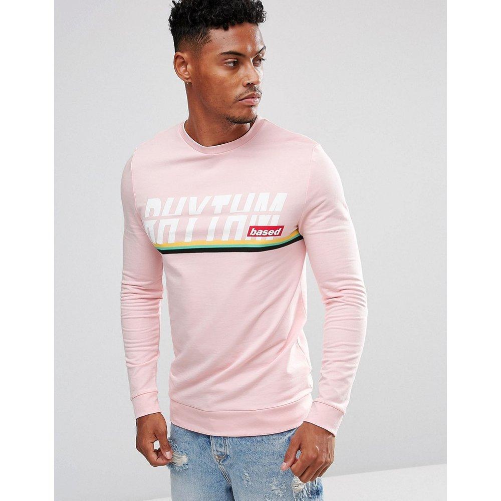 ASOS - Sweat-shirt moulant avec imprimé texte et rayures - ASOS DESIGN - Modalova