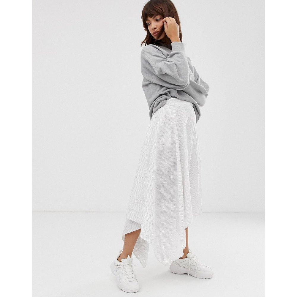Jupe mi-longue asymétrique en coton à rayures - ASOS WHITE - Modalova