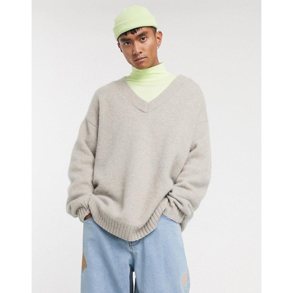 Pull oversize à col en V en laine d'alpaga - ASOS WHITE - Modalova