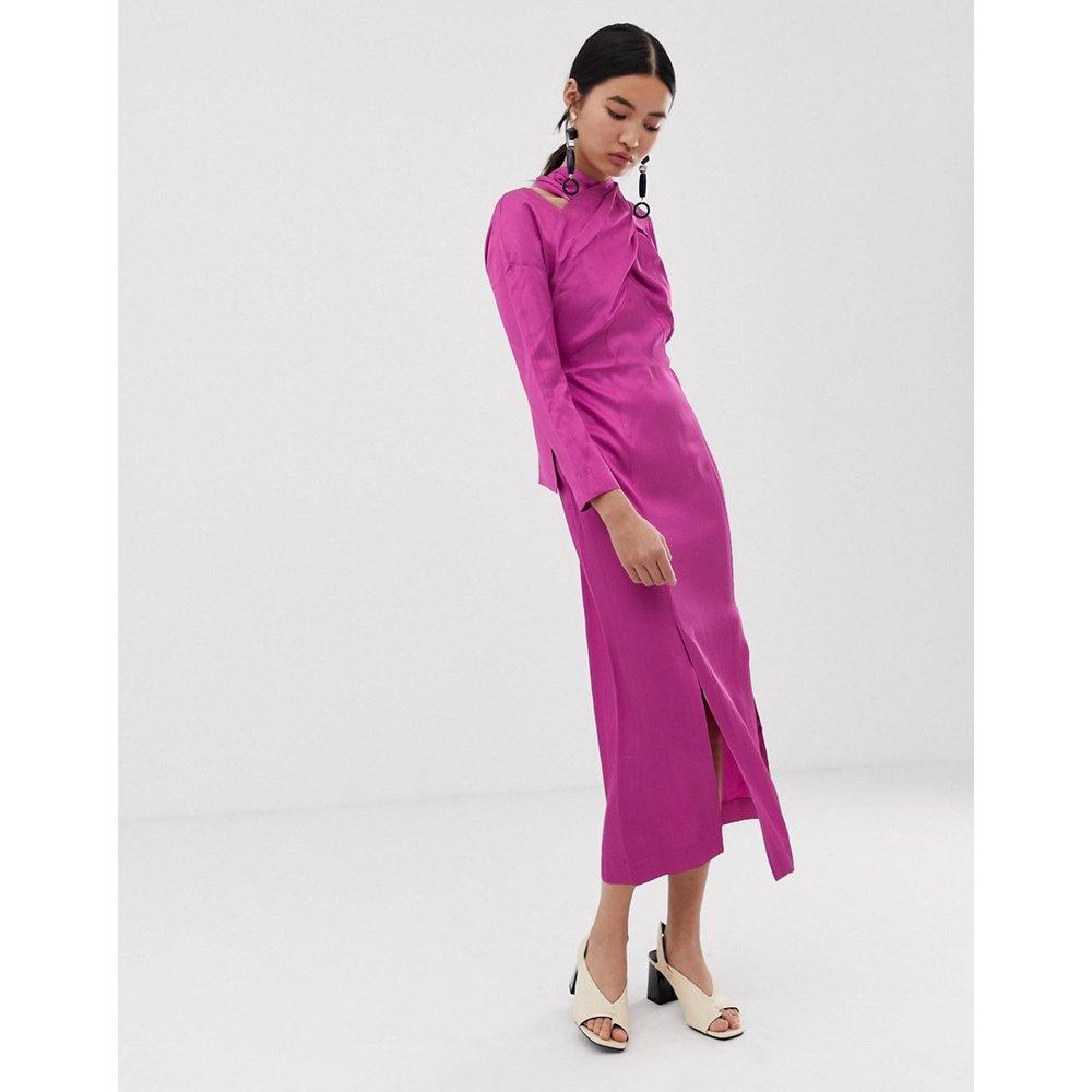 Robe mi-longue avec détail croisé - ASOS WHITE - Modalova