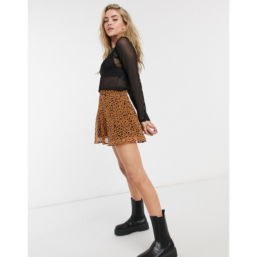 - Mini-jupe patineuse à imprimé animal - Bershka - Modalova