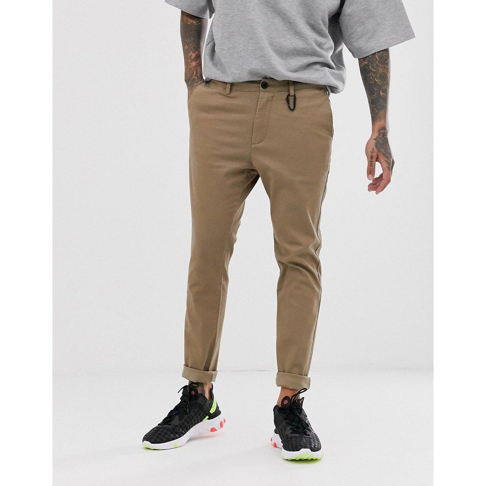 Pantalon chino ajusté - Taupe - Bershka - Modalova