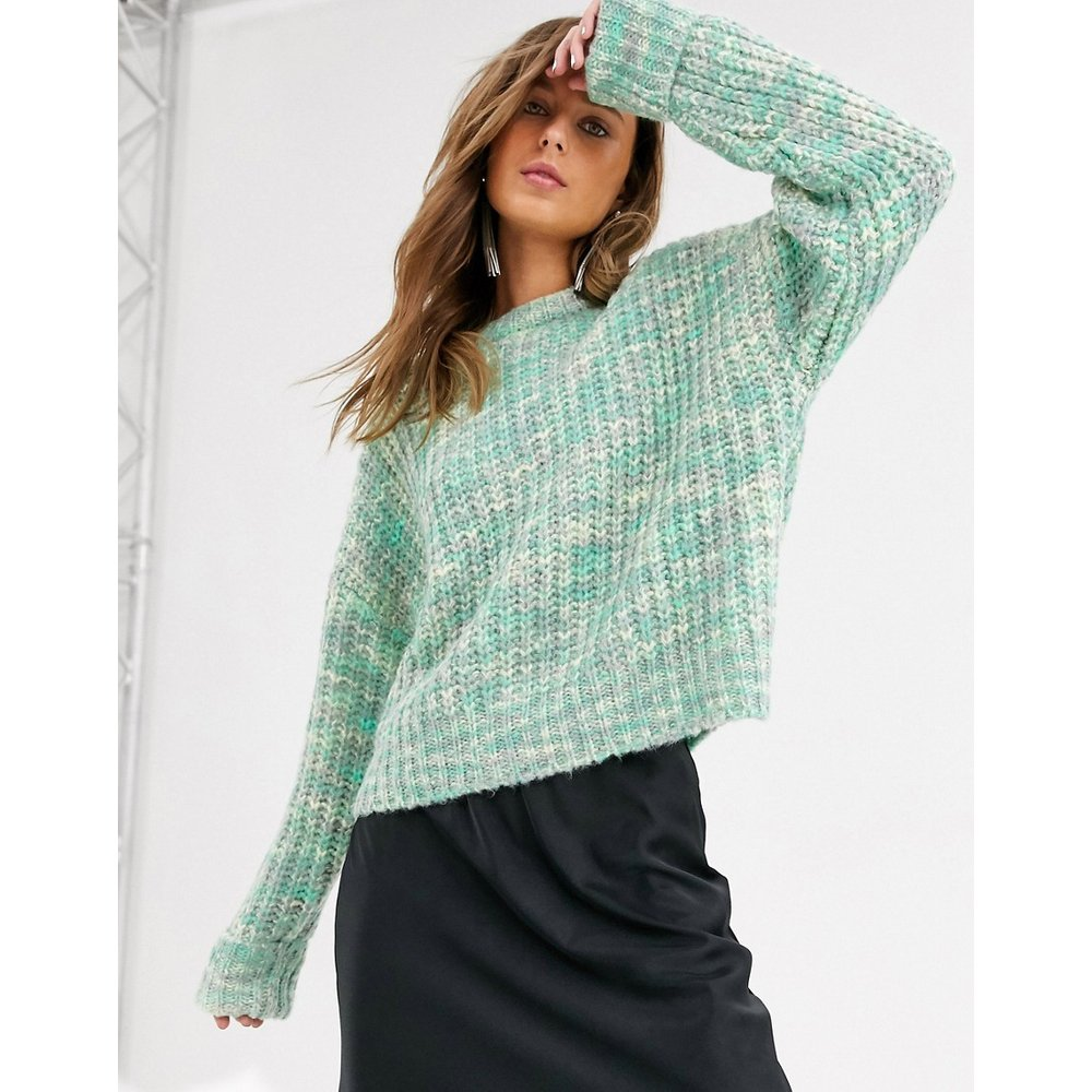 Pull en maille teint par sections - Menthe - Bershka - Modalova
