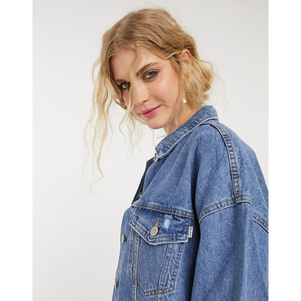 Veste en jean oversize - moyen - Bershka - Modalova