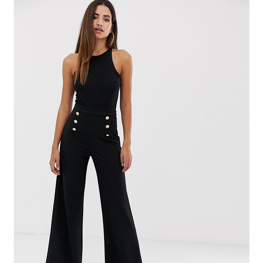 Pantalon large à boutons - Noir - Boohoo - Modalova