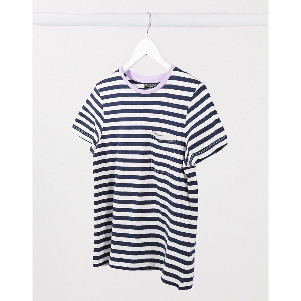 Miami - T-shirt à rayures avec bordure contrastante - Bleu marine et lilas - Brave Soul - Modalova