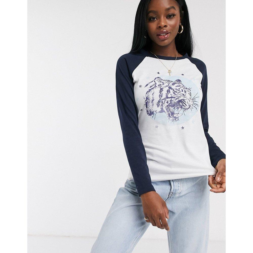 T-shirt à manches longues contrastantes et imprimé tigresse - Brave Soul - Modalova