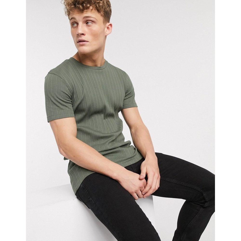 Brave Soul - T-shirt côtelé-Vert - Brave Soul - Modalova