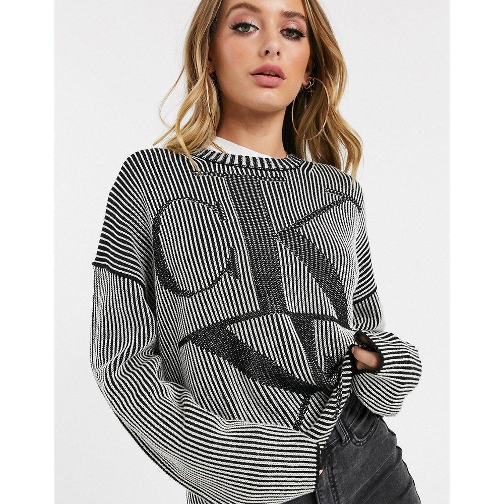 Pull oversize en maille côtelée avec logo effet miroir - Calvin Klein Jeans - Modalova