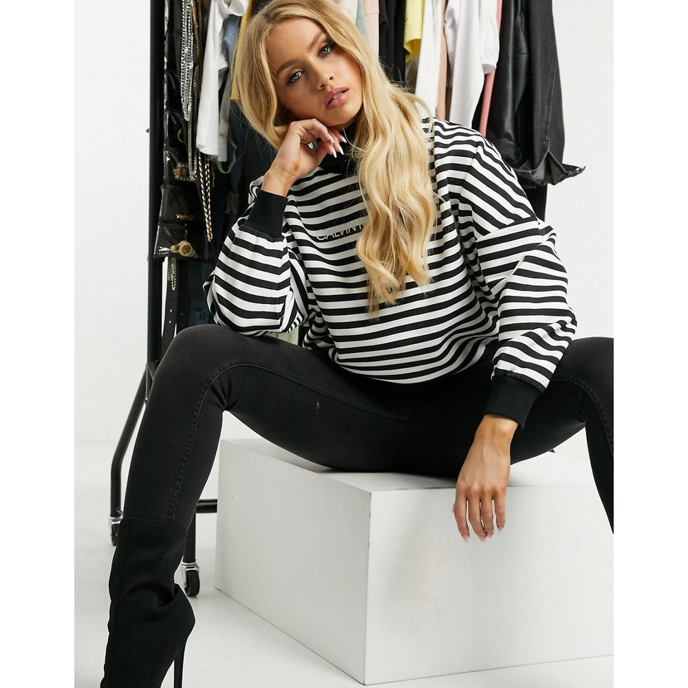 Sweat-shirt col roulé à rayures - Calvin Klein Jeans - Modalova