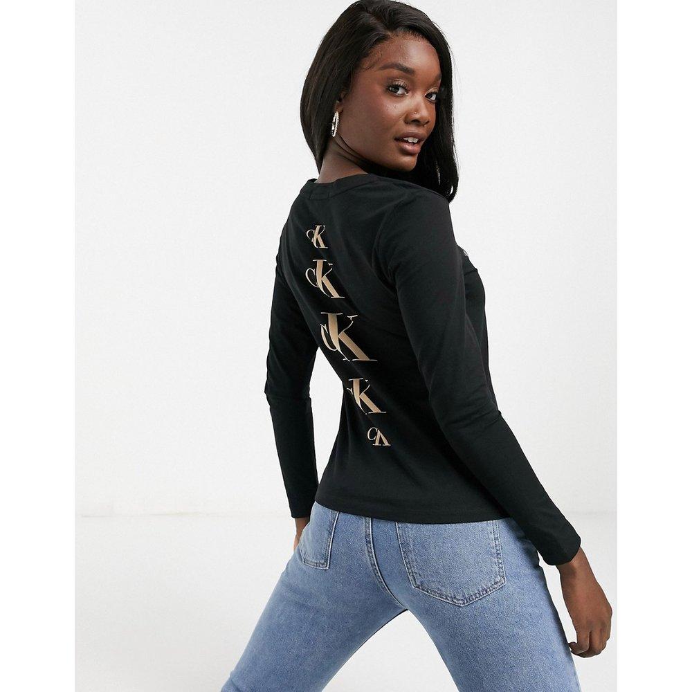T-shirt à manches longues avec logo dans le dos - Calvin Klein Jeans - Modalova