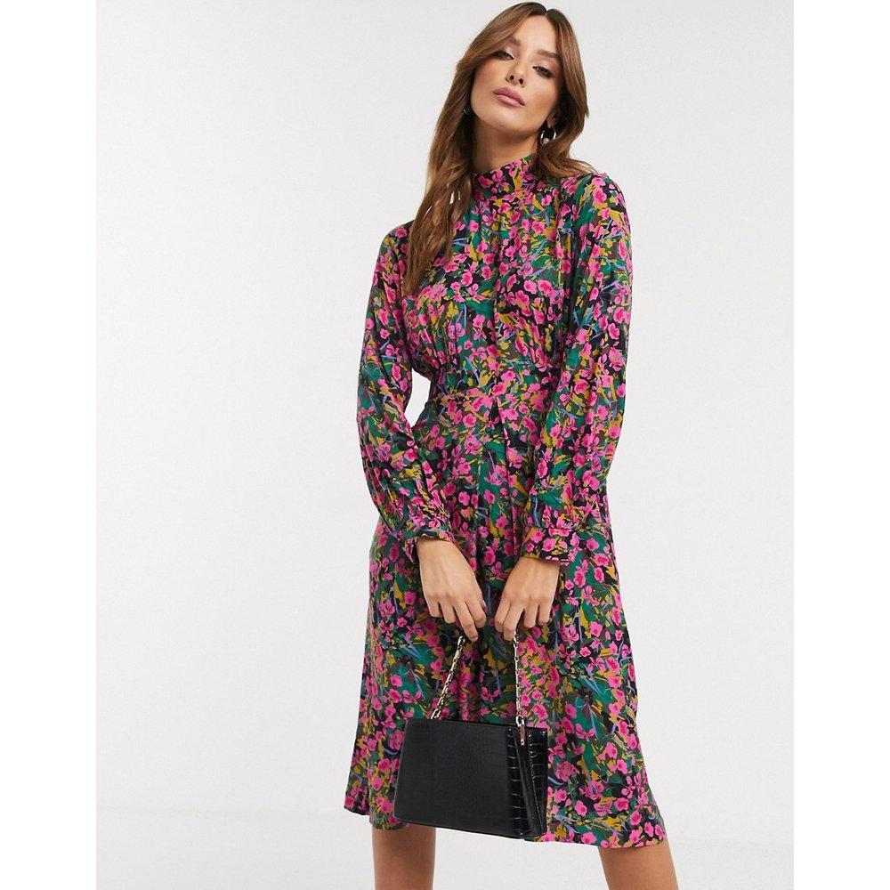 Robe mi-longue à manches bouffantes et col montant avec imprimé petites fleurs - closet london - Modalova