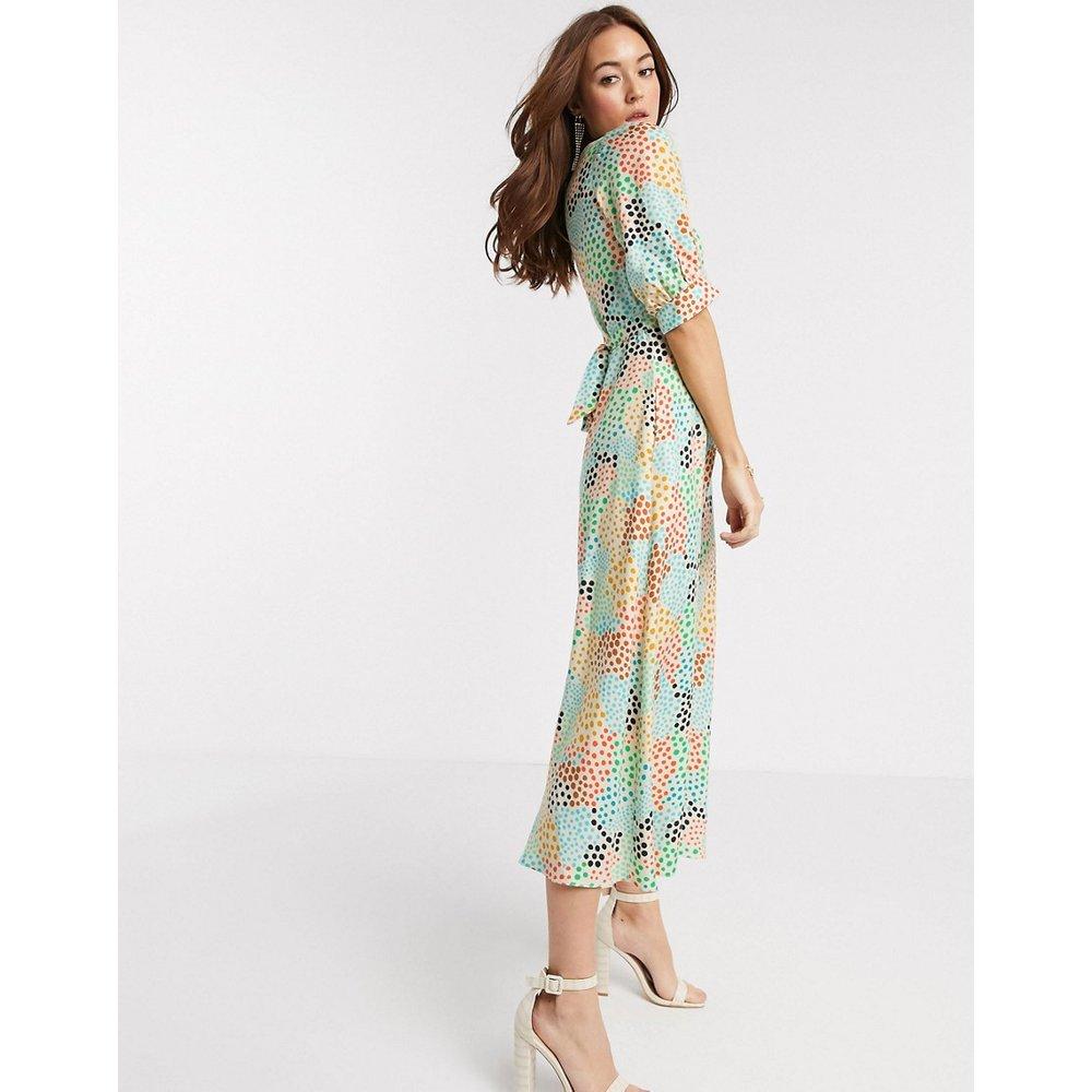Robe mi-longue à pois abstrait - Multicolore - closet london - Modalova