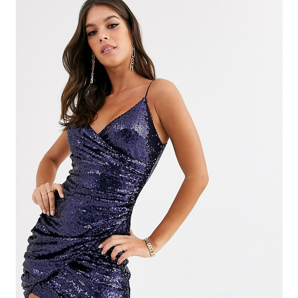 Robe courte cache-cœur asymétrique à sequins - marine - Club L London Tall - Modalova