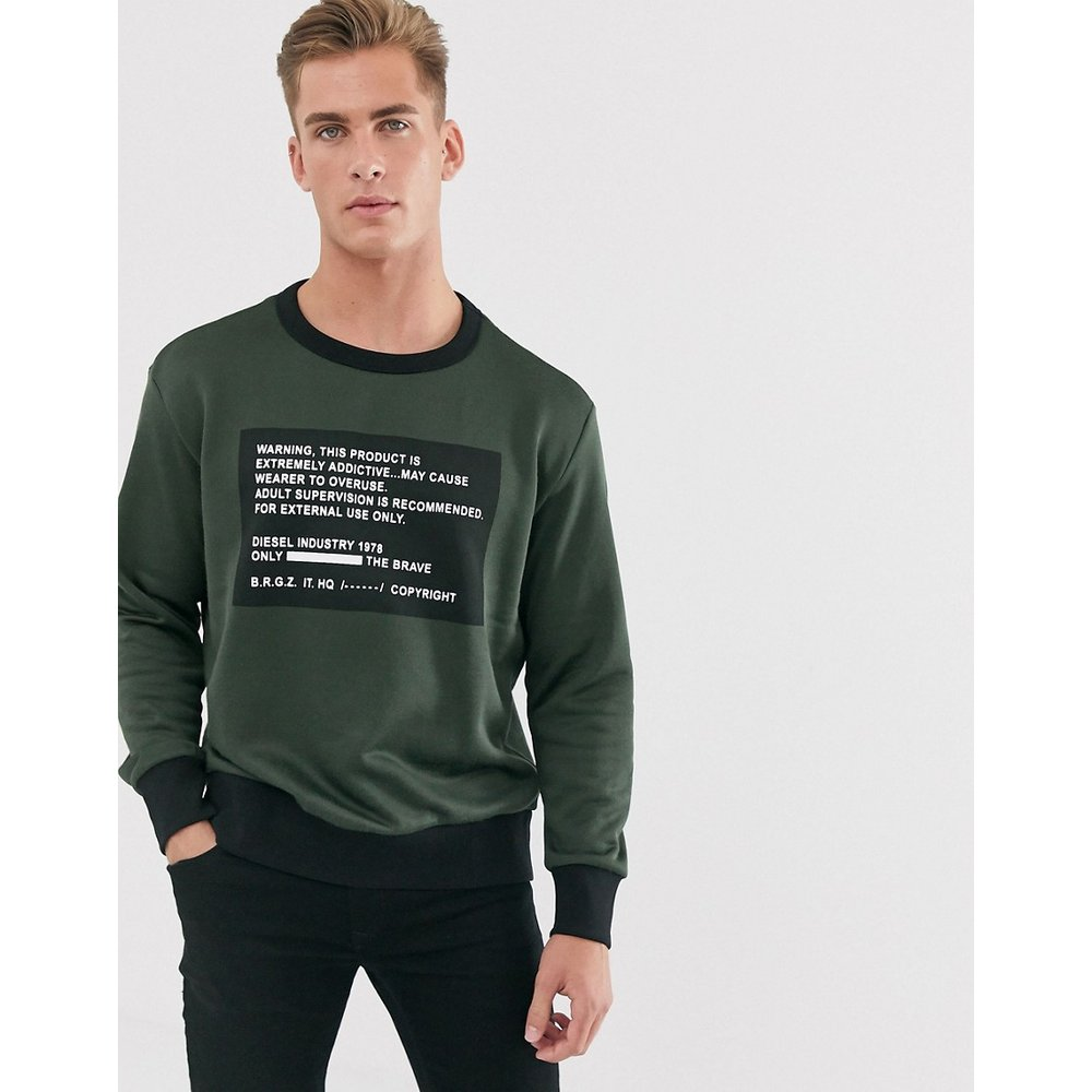 S-Bay-Mesh - Sweat-shirt à message - Kaki - Diesel - Modalova