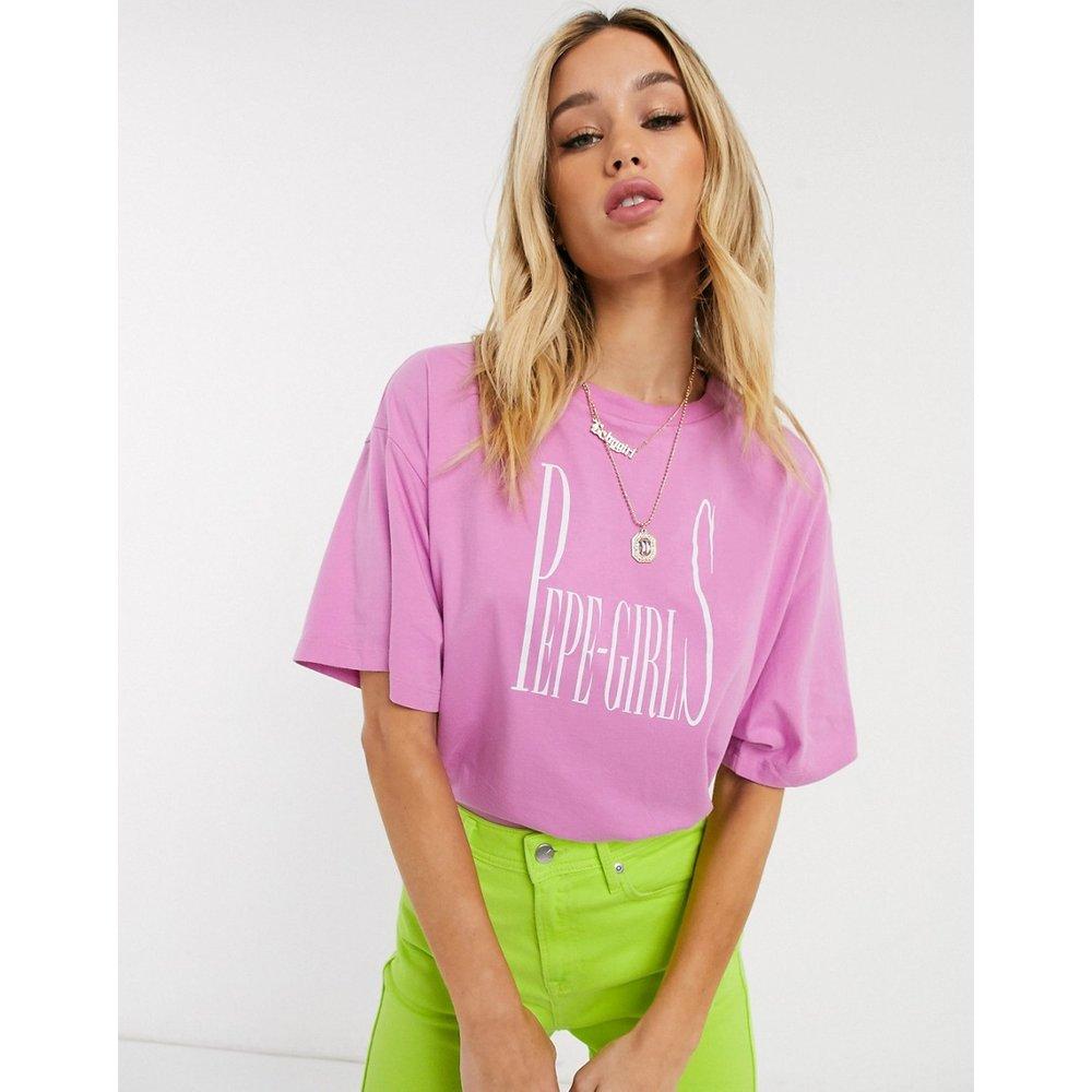 Dua Lipa x - T-shirt oversize avec logo sur le devant - Pepe Jeans - Modalova