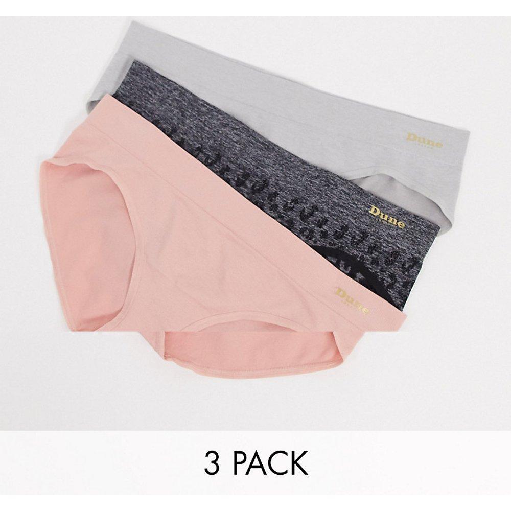 Lot de 3 culottes taille basse sans coutures - Rose imprimé animalier/noir et gris - Dune - Modalova