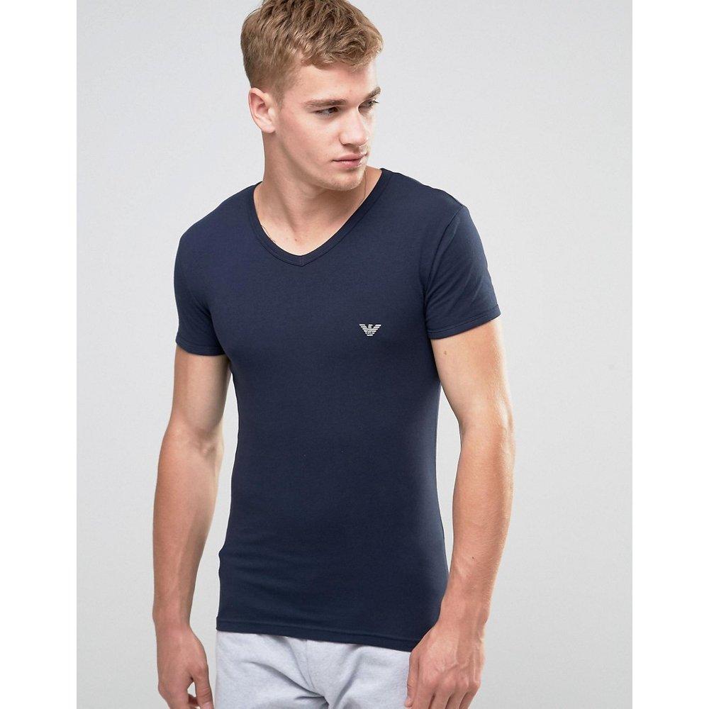 Big Eagle - T-shirt moulant à col en V - Bleu marine - Emporio Armani - Modalova
