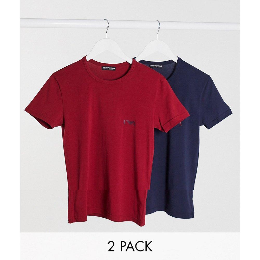 Eva - Lot de2 t-shirts loungewear coupe slim avec logo aigle - Bleu marine et bordeaux - Emporio Armani - Modalova