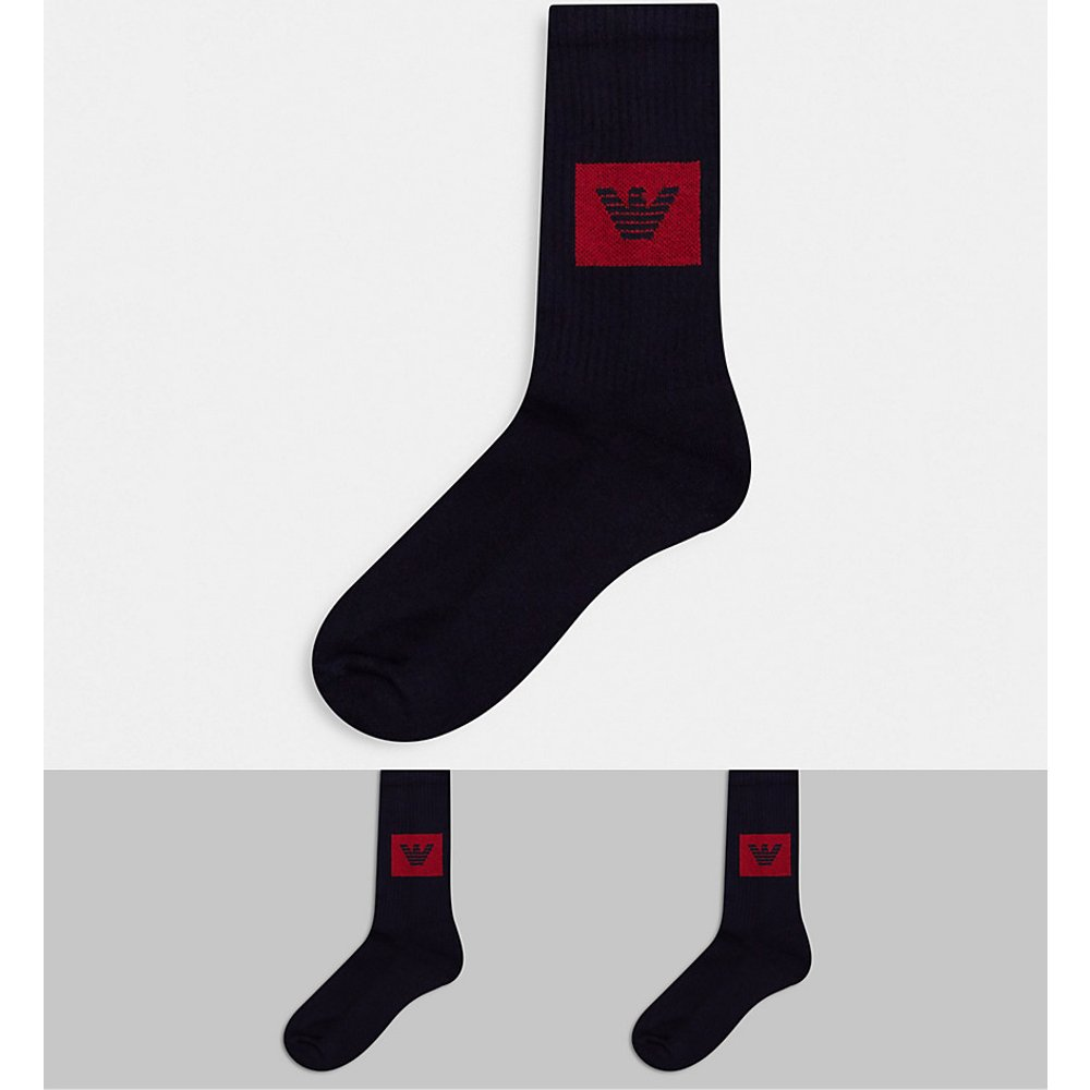  - Lot de 2 paires de chaussettes de sport avec logo aigle carré - Bleu marine - Emporio Armani - Modalova