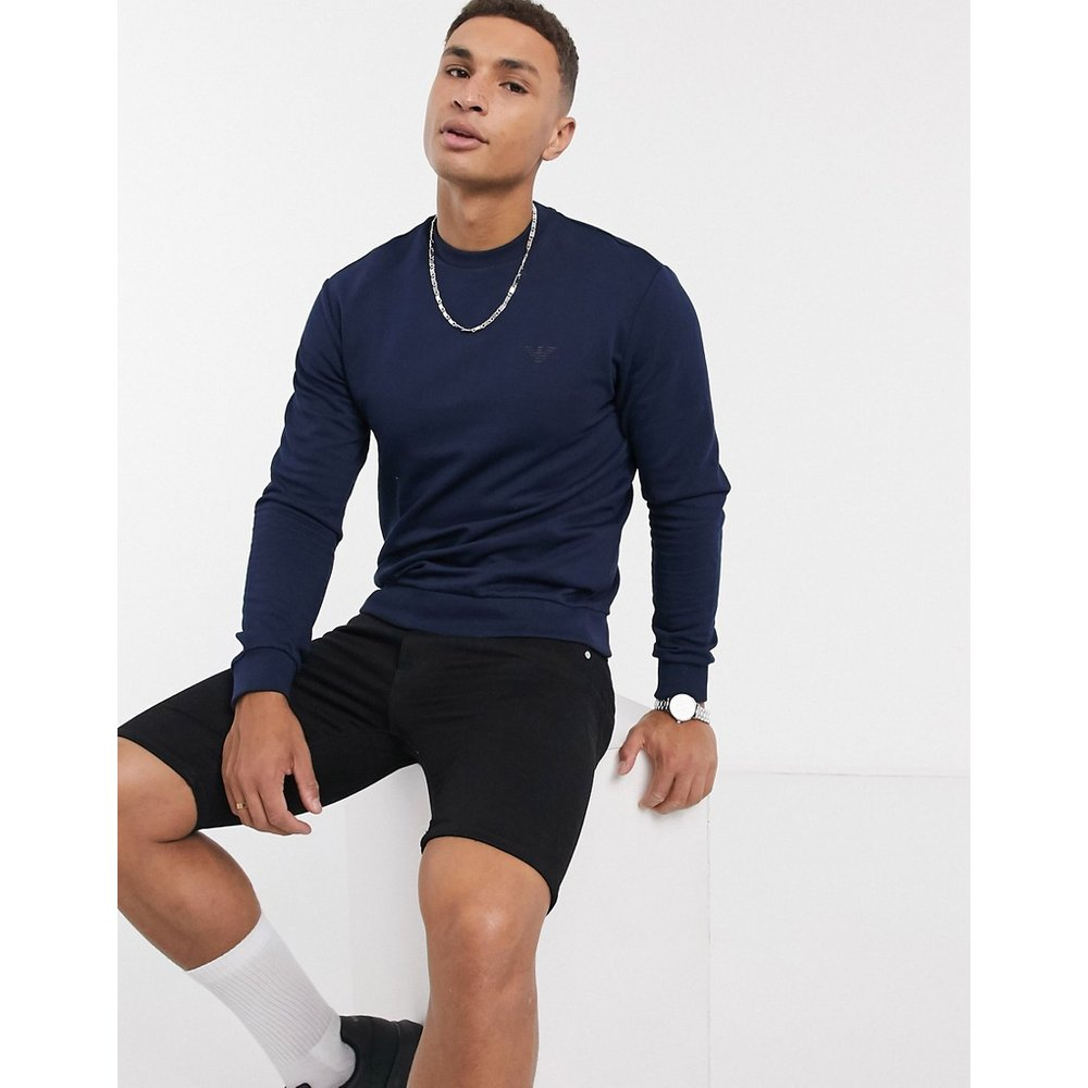Sweat ras de cou avec petit logo - Bleu marine - Emporio Armani - Modalova