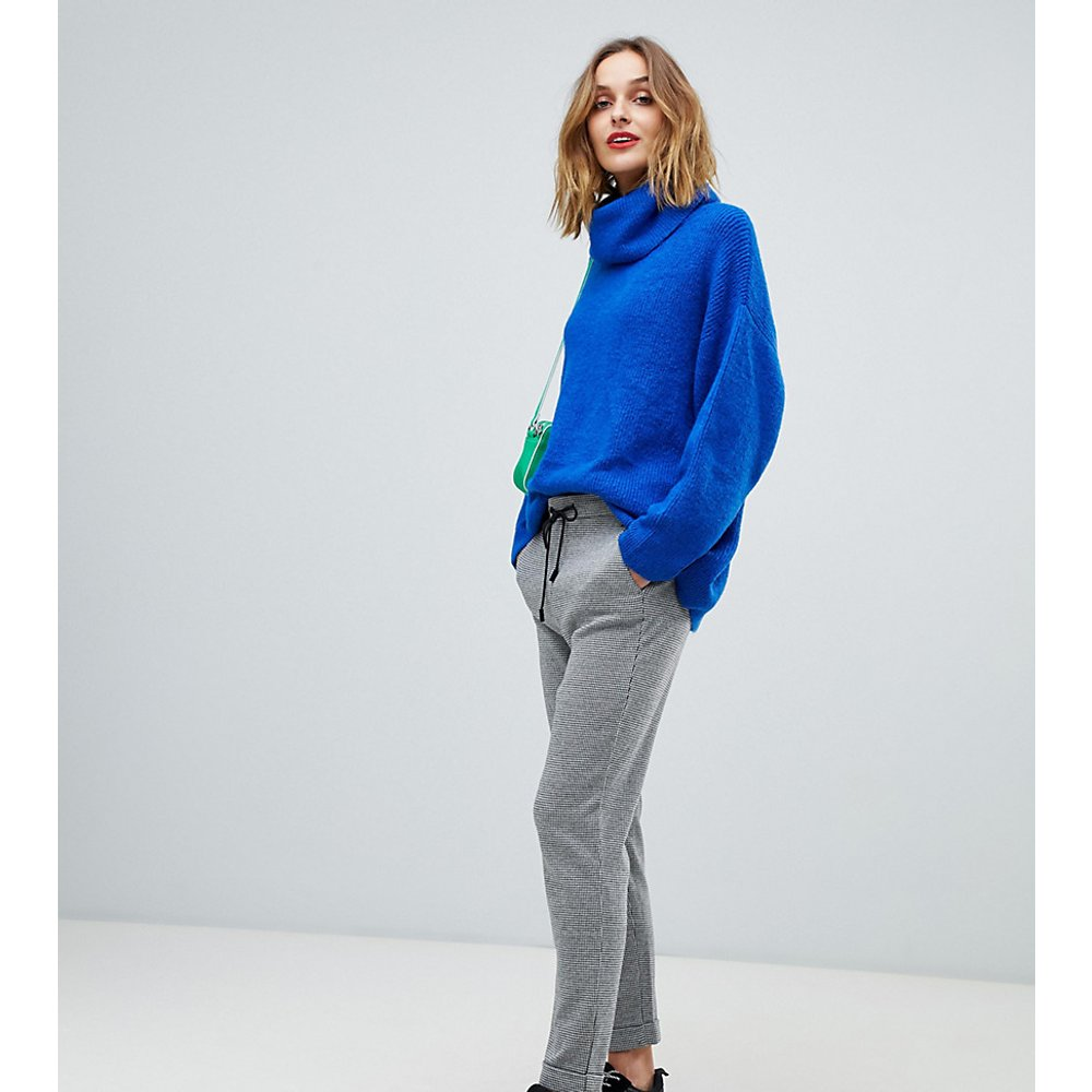 Pantalon doux ajusté à imprimé grille - Esprit - Modalova
