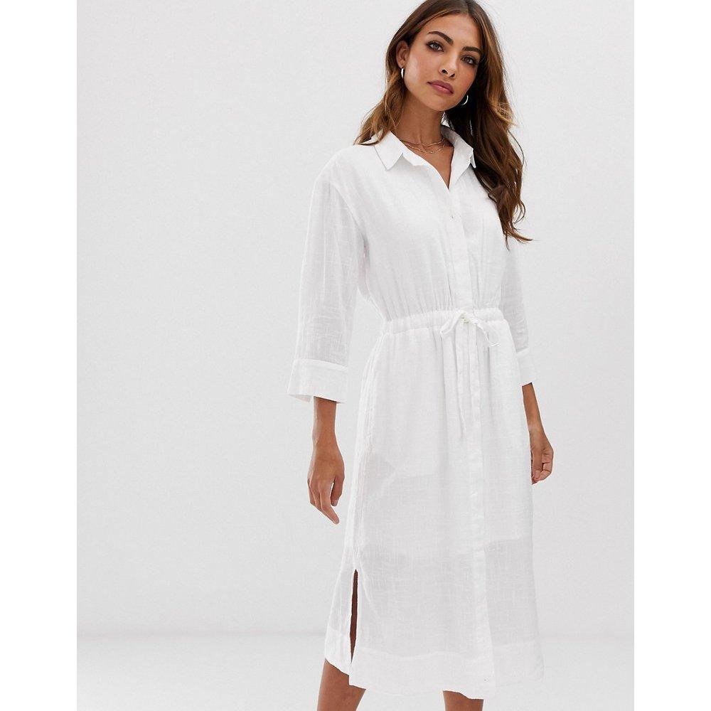 Robe chemise mi-longue fendue sur les côtés avec lien à la taille - Esprit - Modalova