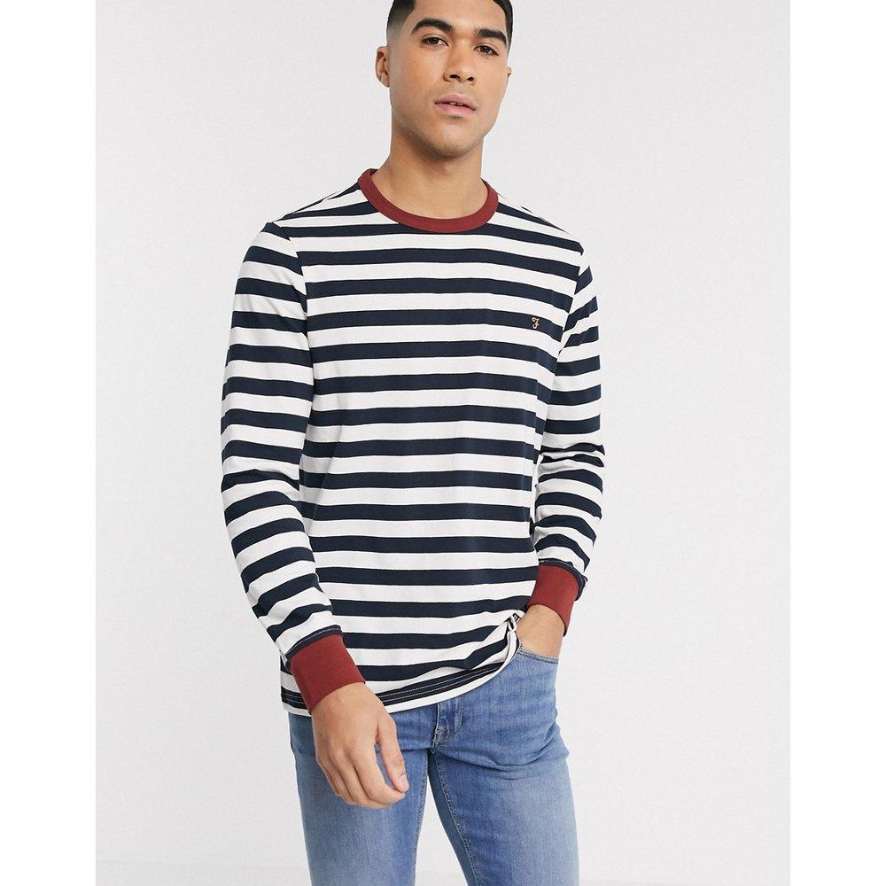 Belgrove - T-shirt manches longues à logo et rayures - brûlé - Farah - Modalova