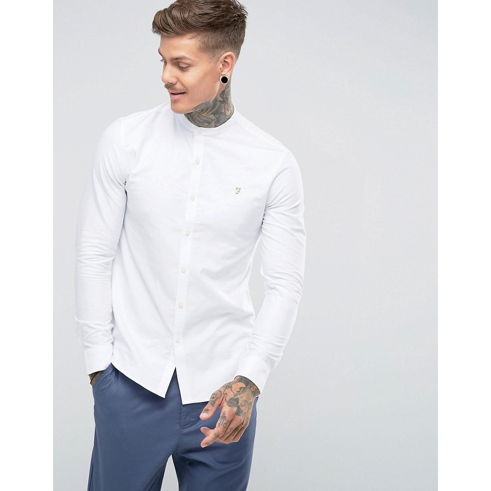 Brewer - Chemise Oxford slim à col grand-père - Farah - Modalova