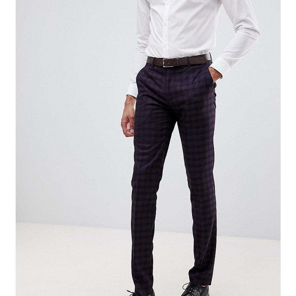 Farah Hurstleigh - Pantalon de costume slim à carreaux - Bordeaux - Farah Smart - Modalova