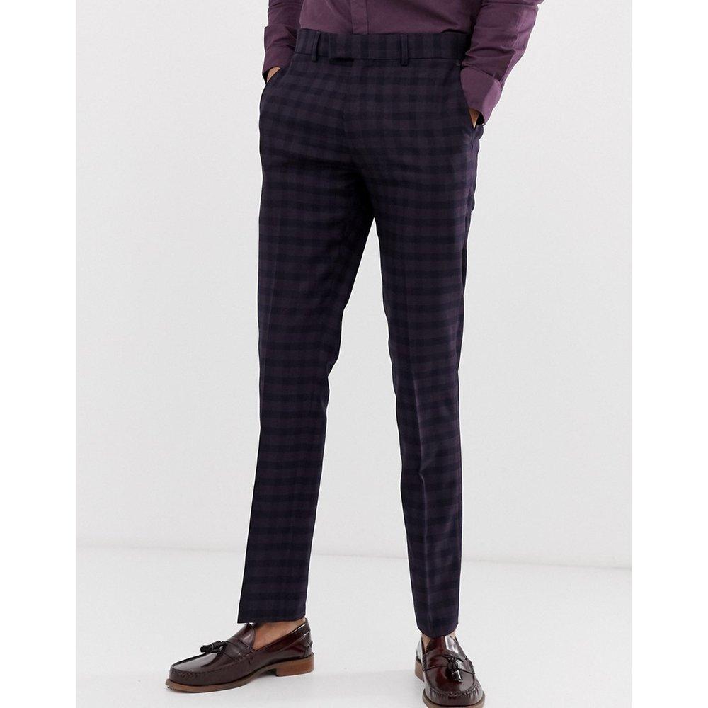 Farah - Hurstleigh - Pantalon de costume slim à carreaux - Bordeaux - Farah Smart - Modalova