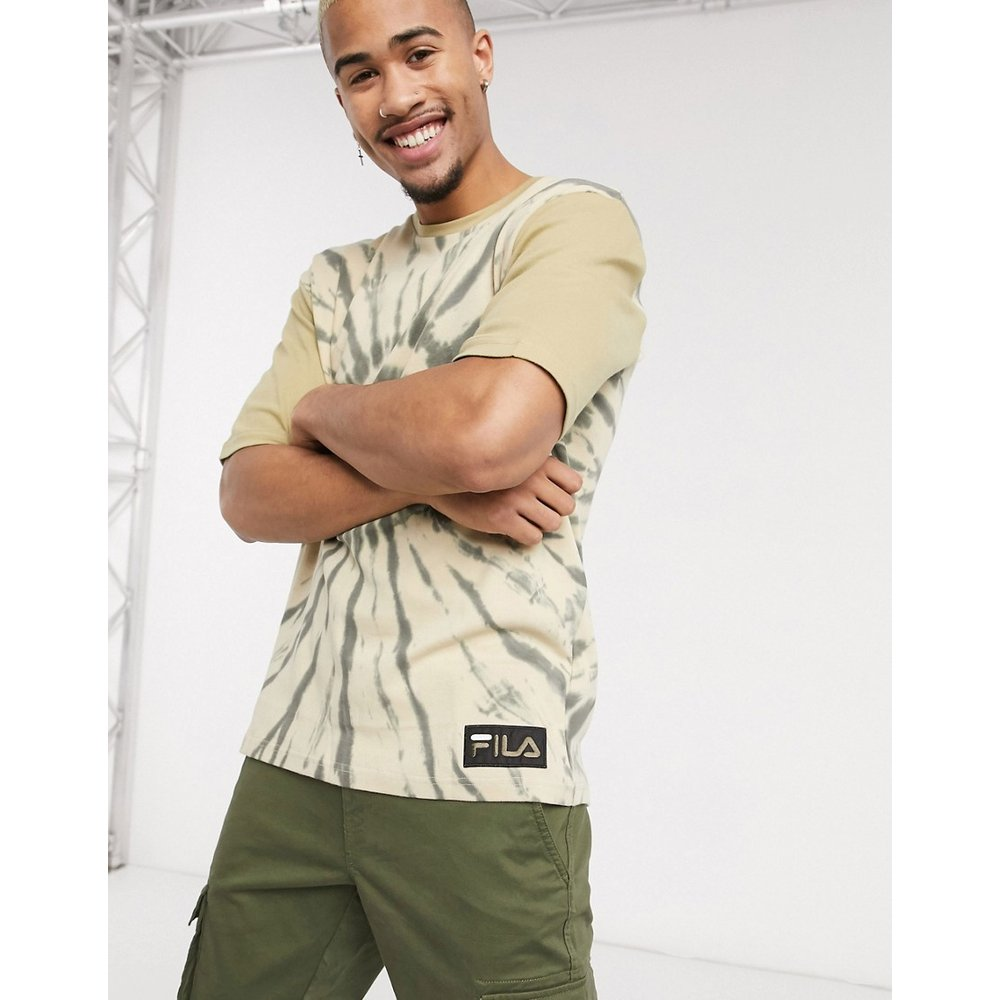 Archer - T-shirt épaules tombantes effet tie-dye - Gris olive - Fila - Modalova