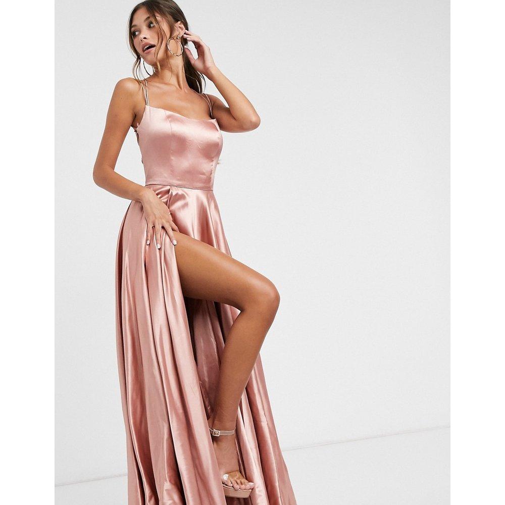 Robe longue satinée - Blush - Forever Unique - Modalova