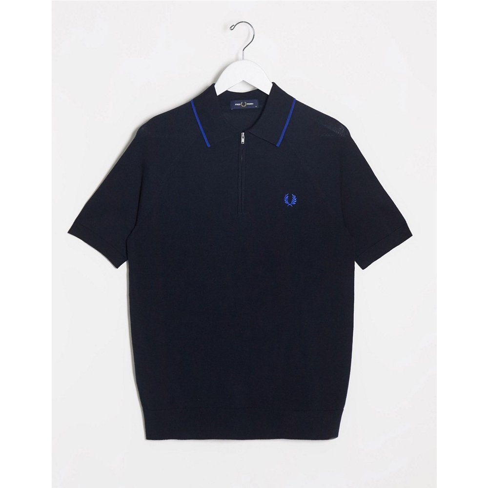 Polo en maille à rayures avec demi-fermeture éclair - Bleu marine - Fred Perry - Modalova