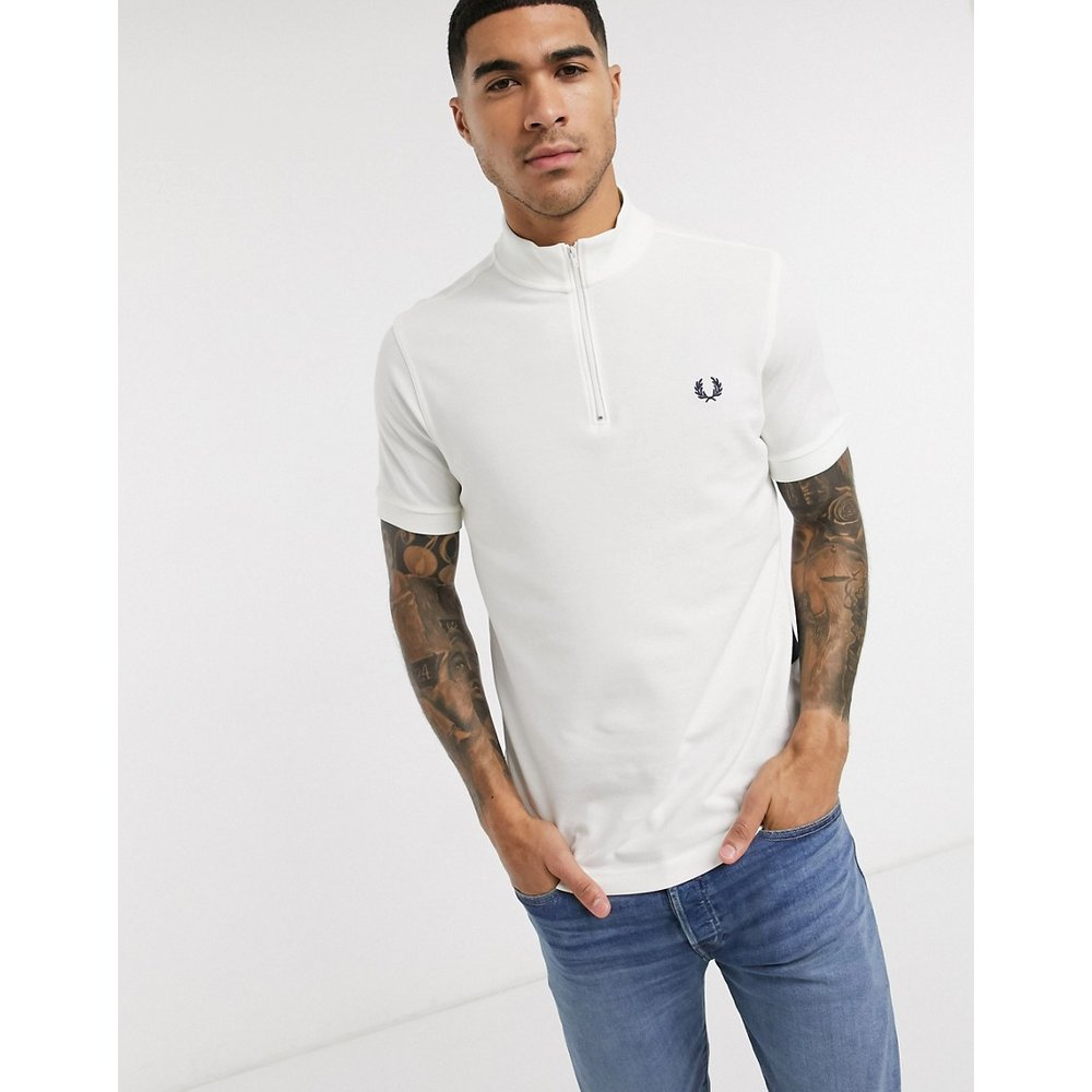 Polo rayé à encolure zippée - Fred Perry - Modalova