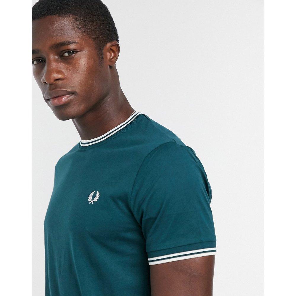 T-shirt à double liseré contrastant - Bleu sarcelle - Fred Perry - Modalova