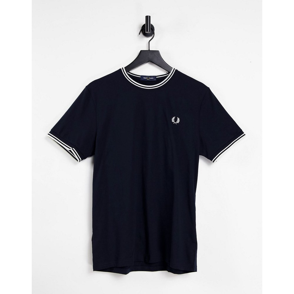 T-shirt avec bordures à double rayure - Bleu marine - Fred Perry - Modalova